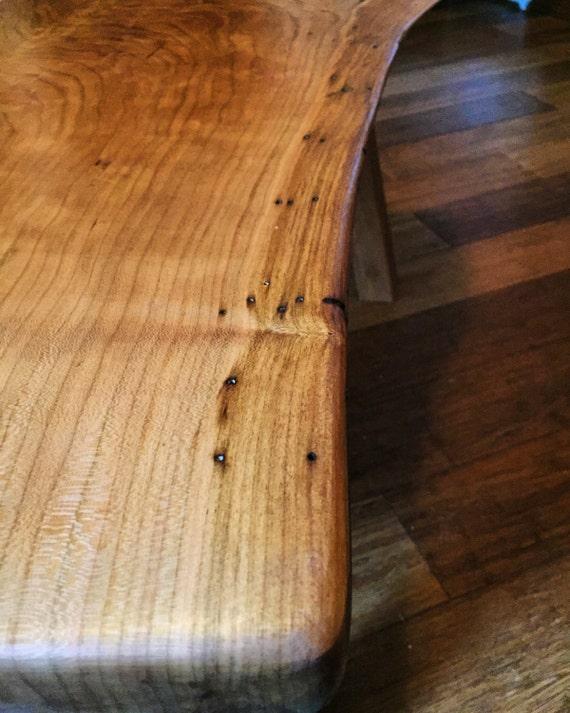 "Live Edge Wood Cherry Coffee Table / Bench- 35 x 16.5,  16"" tall"