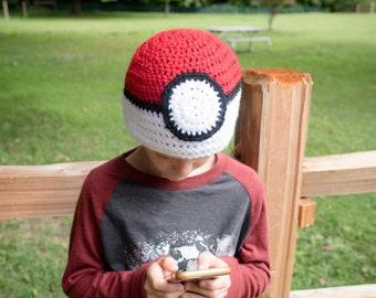 Pokemon crochet hat, pokemon hat, crochet pokemon hat, pokemon ball hat, pokemon go crochet hat, pokemon go hat, pokeball crochet hat