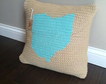 Ohio Crochet Throw Pillow Cover