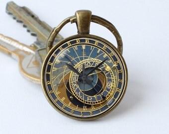 Clock keychain Prague clock key ring Clock jewelry Steampunk key chain Clock pendant Steampunk gift Steampunk keyring Old clock Antique