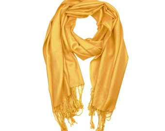 Mustard Yellow Supersoft plain Pashmina Shawl - the perfect bridesmaid gift or wedding favor