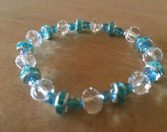 Teal and Clear Beaded Bracelet