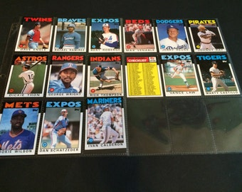Vintage 1986 Topps Collectible Baseball Cards Set of 15 Cards