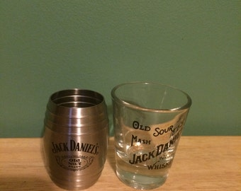 Jack Daniel's (2) Shot Glasses Stainless Steal Barrel No. 7 & Tennessee Whiskey Old Sour Mash
