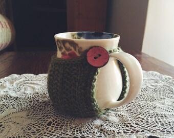 Green Snug and 'Blue and Pink Poppies' Mug Set
