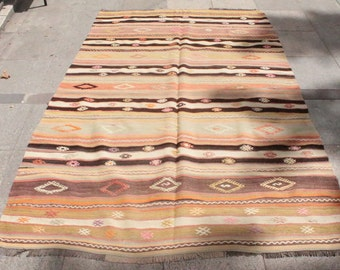 1960th handwoven striped kilim rug - 7 x 4 ft