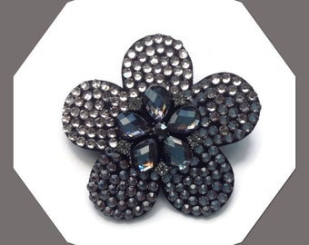 Grey Charcoal Crystals Petal Design Brooch Corsage Hair Accessory Weddings Races Proms Parties