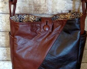 Two tone Brown leather handbag
