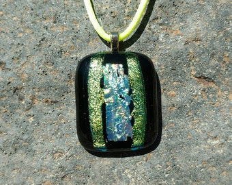 Dichroic Fused Glass Pendant, Black with Shimmering Orange, Yellow, Gold and Blue, Handmade Necklace