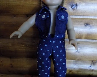 "Heart denim jeans for American doll or 18"" doll"