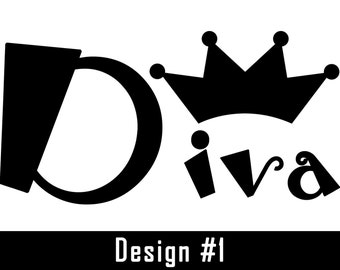 Vinyl Decal - Diva with Princess Crown