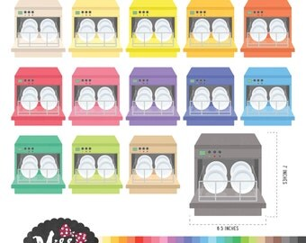 30 Colors Dishwasher Machine Clipart - Instant Download