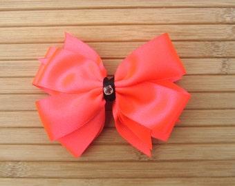 Neon Pink Double Pinwheel Dance Hair Bow