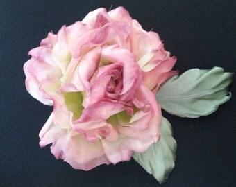 Handmade Designer Fabric Flower Brooch/Hair Clip ''Rose''