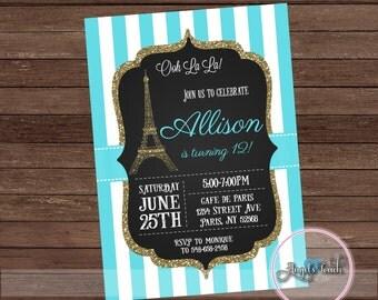 Paris Party Invitation, Paris  Turquoise Birthday Party Invitation, French Party Invitation, Paris Invitation, Paris Party, Digital File.
