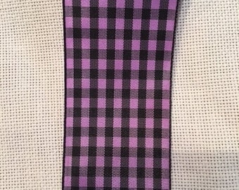 Midori Purple/Black Plaid Silk Ribbon