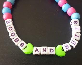I heart boobs and butts rave kandi bracelet single