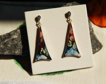 Silver 950 Earrings/Free Shipping USA/Geometric Drops Silver 950 and resine earrings/Handmade jewerly