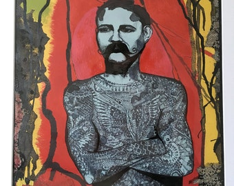 Tattooed Man. Circus poster style painting with ink detail.