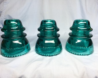Pre-Drilled Hemingray -42 Glass Insulator DIY (3 piece)