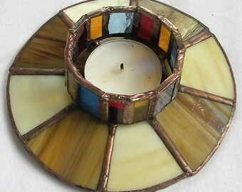 Stained glass candle stick holder
