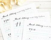 Brush Lettering Alphabet Practice Worksheets - For Small Brush Pens