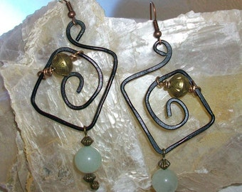 Aluminum earrings, handmade, jade and brass 75 mm