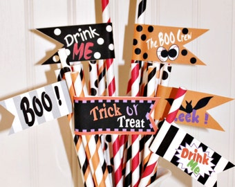 Halloween Party Paper Straw Flags, DIY PRINTABLE PDF File, Print Your Own, Instant Download