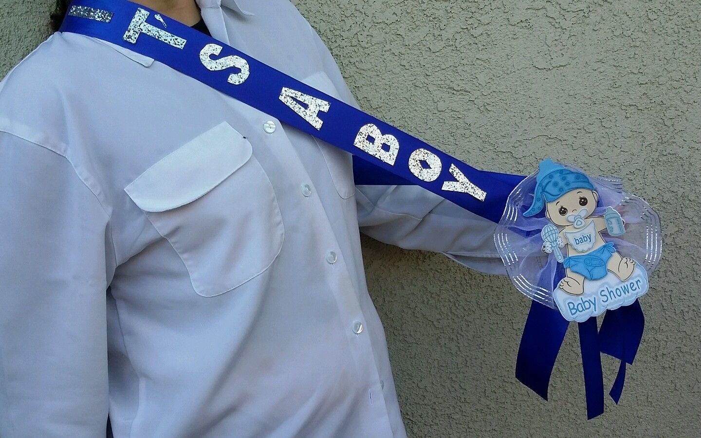 baby shower sash for the mom to be blue boy pregnant sash