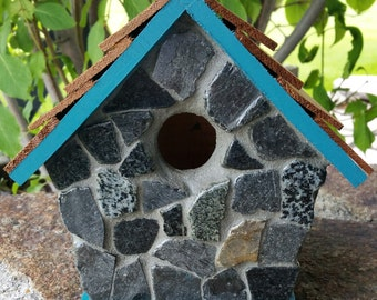 Tuscan Teal Slate Birdhouse