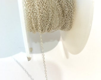 925 Sterling Silver Chain Swage Cable Chain 0.60MM By Foot #407644