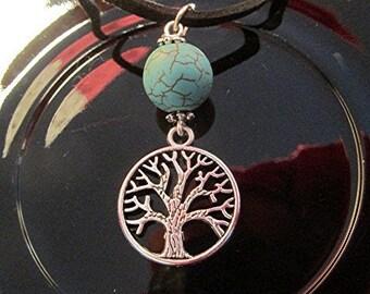 Leather choker necklace turquoise tree of life pendant hippie boho handmade.
