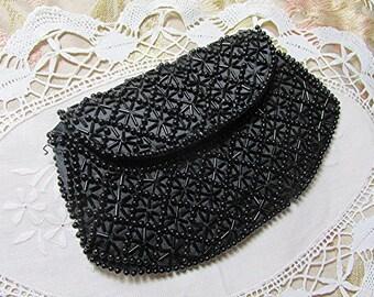 Black evening bag black clutch purse beaded bag beaded evening bag beaded clutch purse bag vintage Gatsby style.