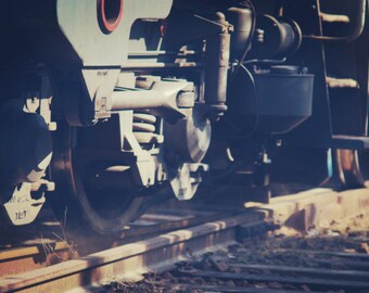 Train Wheel Photography, Rainroad Wheel Photo, Railway Photography, Train wheel wall print, Track wall print,  Home Decor.
