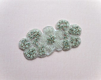 Sparkly Silver Rhinestone and Beaded Floral Applique