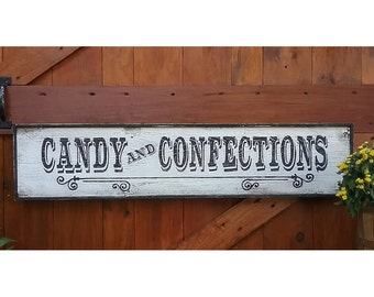 Country Farmhouse Style Hand Painted CANDIES and CONFECTIONS  Wood Sign LARGE 3'