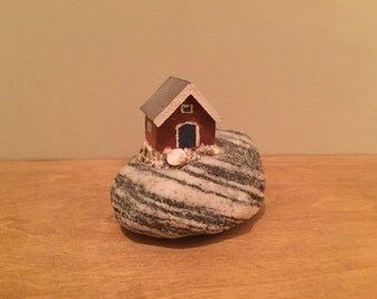 Swedish Cabin on the Rocks Ornament - Swedish handicraft, art