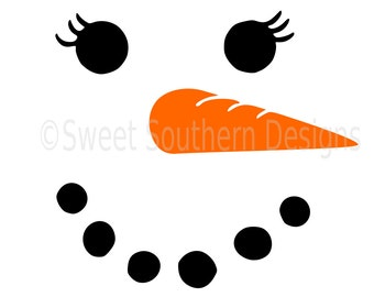 Snowman girls face winter christmas SVG instant download design for circuit or silhouette