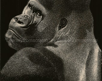 A Gorilla's Image ORIGINAL used two Midiums: Scratch/Pointillism