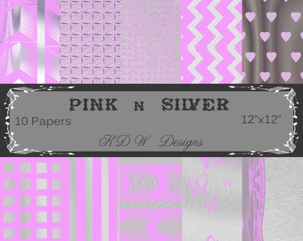 Pink and silver digital paper, Pink and silver, Pink and silver scrapbook paper, zigzag, stripes, hearts, butterflies,12 x 12, 10 pages
