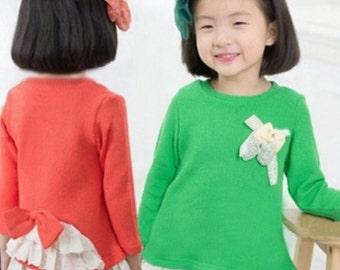 Green Long sleeve Girls Shirt