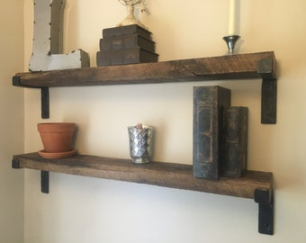 Rustic Shelf with hand made brackets, each shelf made to your specifications of reclaimed barnwood farmhouse decor Rustic home decor