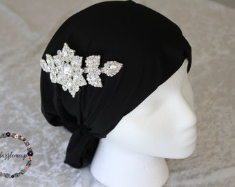 Black Head Wrap - Womens Band - Embellished Hair Wrap - Thick Headband - Black Turban - Head Covering - Embellished Turban - Hair Accesories