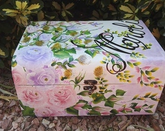 box of wood, painted box, chest, trunk, save, decoration, flowers, romantic