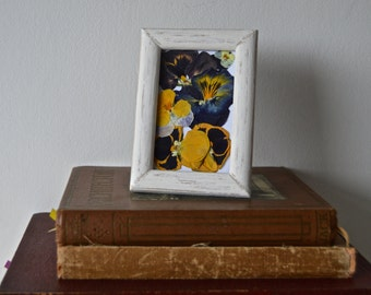 Real pressed Pansies & Viola displayed in mini hand painted shabby chic style frame
