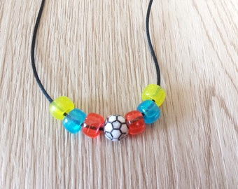 10 Soccer - Beaded Futbol  Friendship Necklaces Party Favors. Beads are negotiable. Inspired by famous soccer teams.