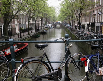 Amsterdam Bicycle Photo, Fine Art Photography, Netherlands Bike Photo, Dutch Canal Photo, Holland Bikes,Springtime Pic, Wall Art, Home Decor
