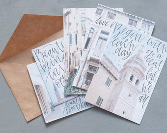 """Calligraphy Postcards Set """"Moments"""""""