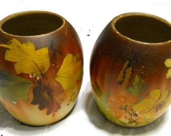 Pair Autumn Coloured Vases Vintage Antique