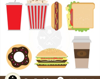 Fast Food Set Clipart,fast food clipart,food clipart,drink clipart,digital download